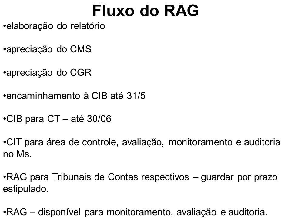 Fluxo do RAG elaboração do relatório apreciação do CMS apreciação do CGR encaminhamento à CIB até 31/5 CIB para CT – até 30/06 CIT para área de controle, avaliação, monitoramento e auditoria no Ms.