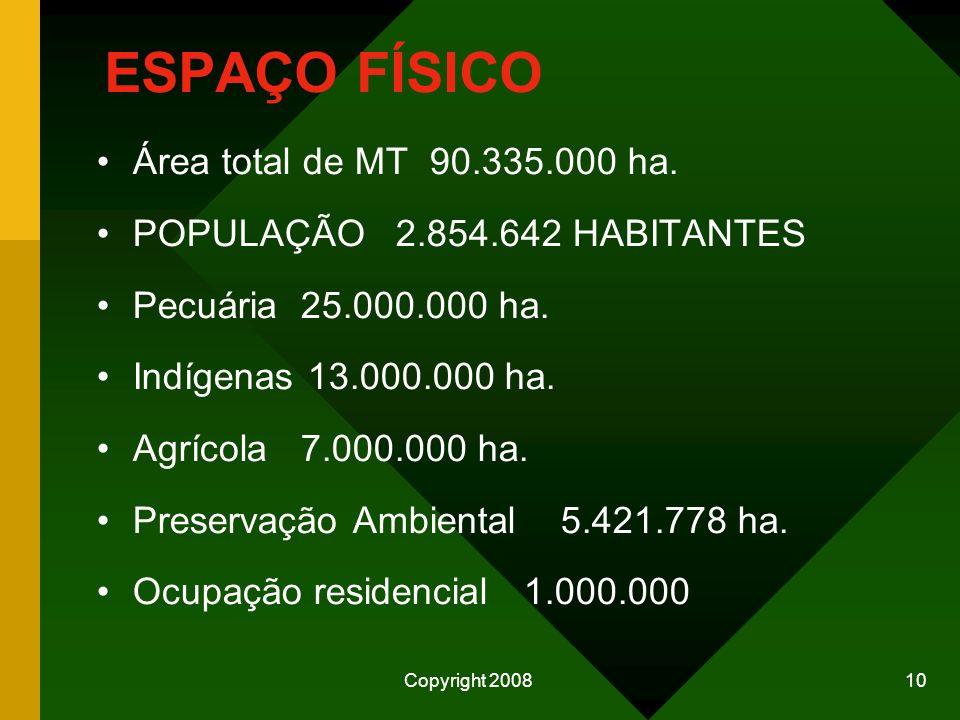 Copyright 2008 9 INSUMOS PARA AUMENTO DA PRODUÇÃO MATO GROSSO PRODUZ: SOJA................................... 17,6 milhões/ton ALGODÃO................