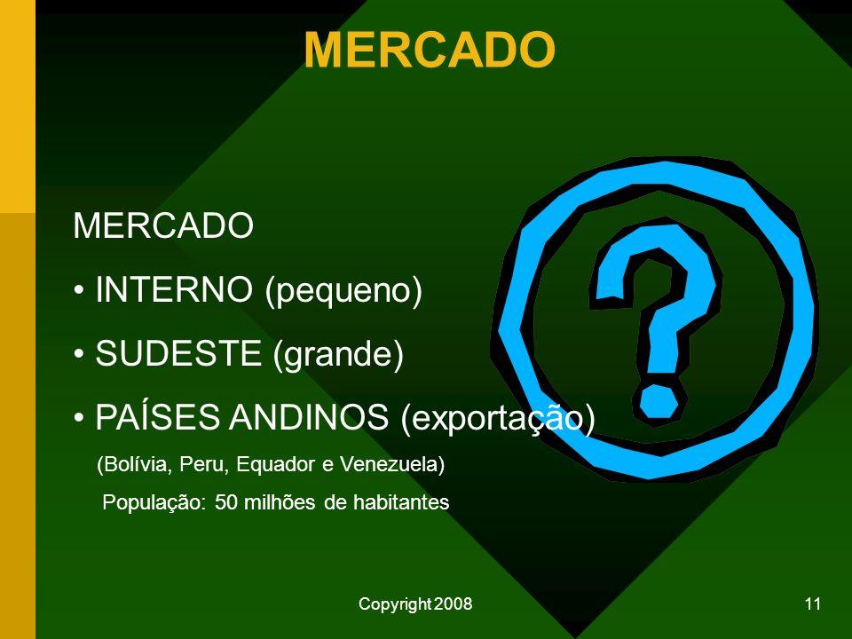 Copyright 2008 10 Área total de MT 90.335.000 ha. POPULAÇÃO 2.854.642 HABITANTES Pecuária 25.000.000 ha. Indígenas 13.000.000 ha. Agrícola 7.000.000 h