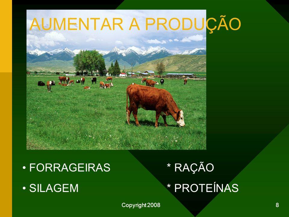 Copyright 2008 7 COMO MELHORAR A CADEIA PRODUTIVA DO LEITE PRODUTOR -Melhorar alimentação do rebanho -Melhorar a genética -Melhor aproveitamento do es