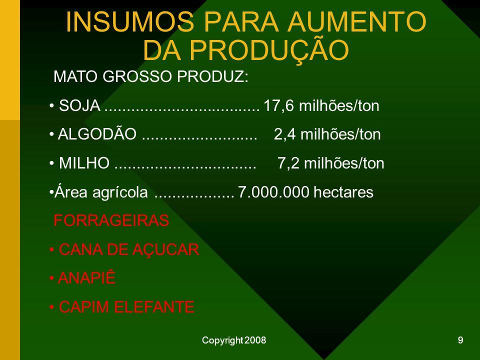 Copyright 2008 9 INSUMOS PARA AUMENTO DA PRODUÇÃO MATO GROSSO PRODUZ: SOJA...................................