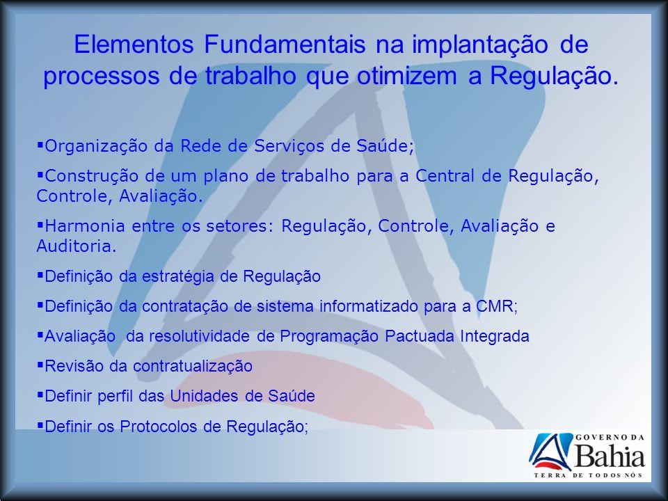 Elementos Fundamentais na implantação de processos de trabalho que otimizem a Regulação. Organização da Rede de Serviços de Saúde; Construção de um pl