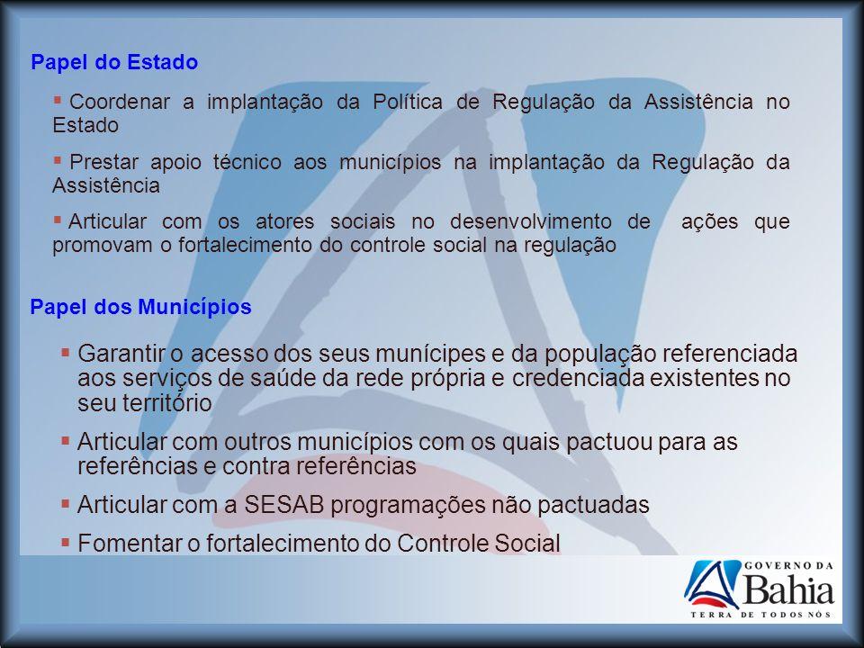 Coordenar a implantação da Política de Regulação da Assistência no Estado Prestar apoio técnico aos municípios na implantação da Regulação da Assistên
