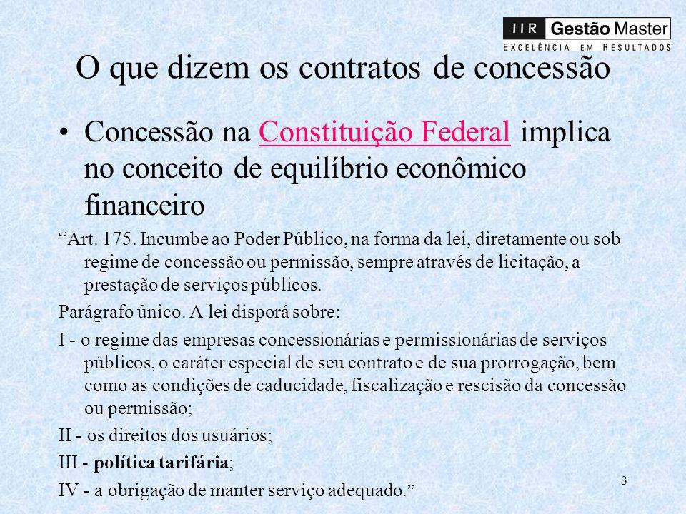 3 O que dizem os contratos de concessão Concessão na Constituição Federal implica no conceito de equilíbrio econômico financeiroConstituição Federal Art.