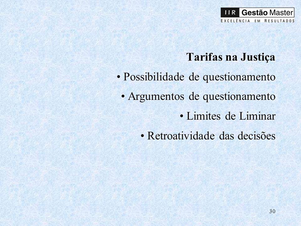 30 Tarifas na Justiça Possibilidade de questionamento Argumentos de questionamento Limites de Liminar Retroatividade das decisões