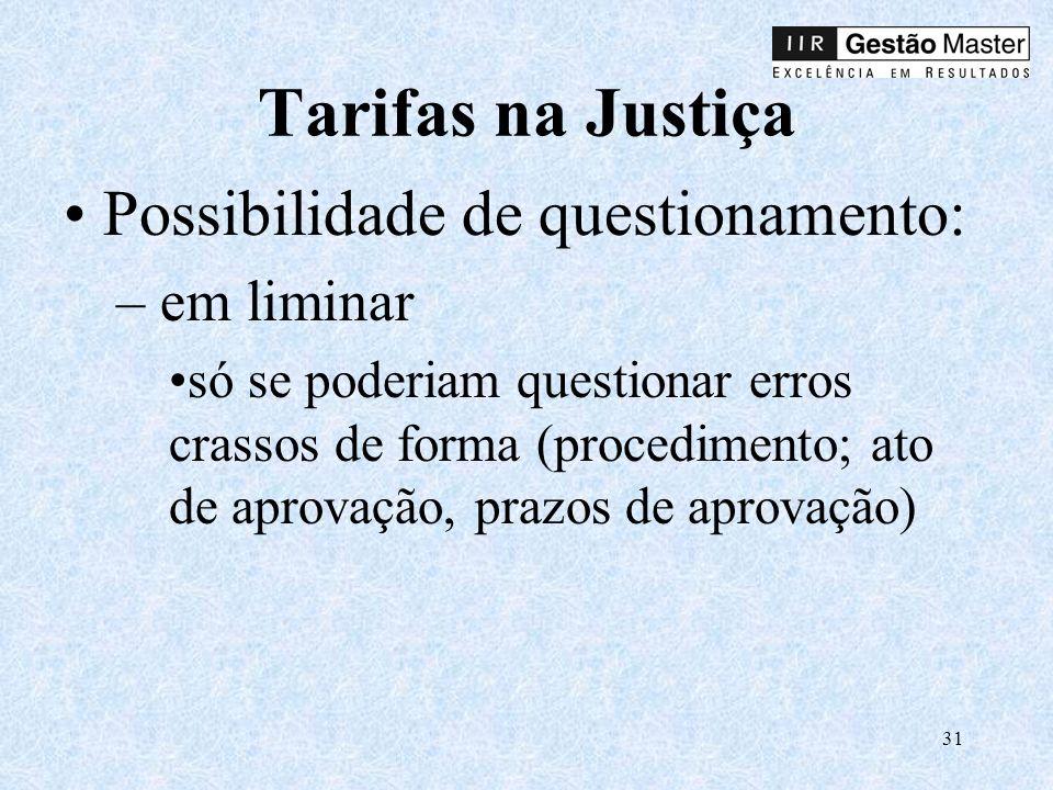 31 Tarifas na Justiça Possibilidade de questionamento: – em liminar só se poderiam questionar erros crassos de forma (procedimento; ato de aprovação, prazos de aprovação)