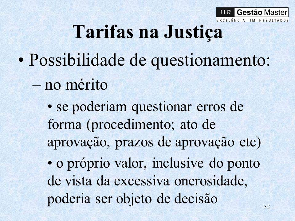 32 Tarifas na Justiça Possibilidade de questionamento: – no mérito se poderiam questionar erros de forma (procedimento; ato de aprovação, prazos de aprovação etc) o próprio valor, inclusive do ponto de vista da excessiva onerosidade, poderia ser objeto de decisão