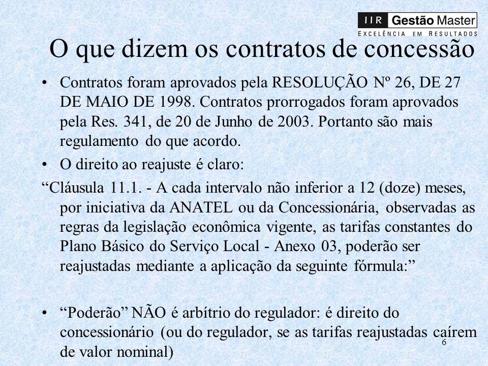 6 O que dizem os contratos de concessão Contratos foram aprovados pela RESOLUÇÃO Nº 26, DE 27 DE MAIO DE 1998.