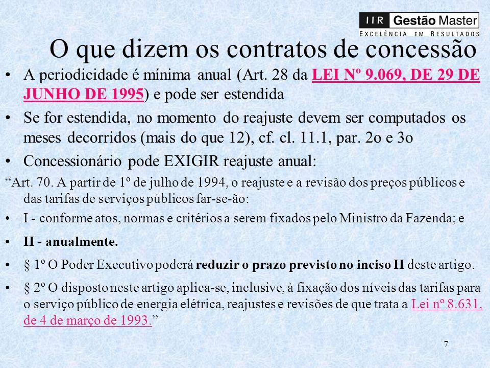 7 O que dizem os contratos de concessão A periodicidade é mínima anual (Art.