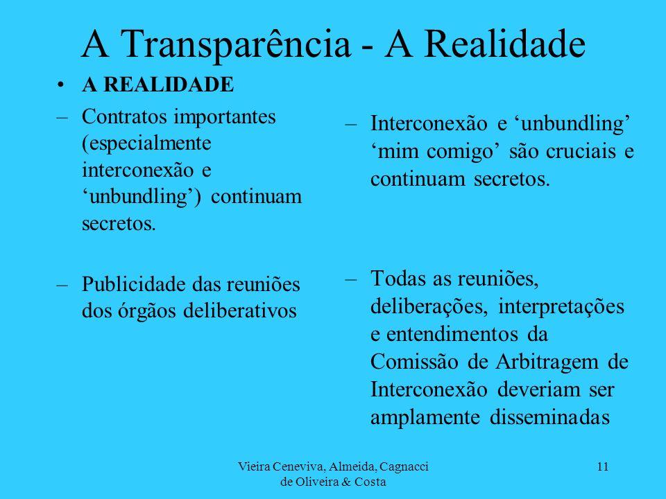 Vieira Ceneviva, Almeida, Cagnacci de Oliveira & Costa 11 A Transparência - A Realidade A REALIDADE –Contratos importantes (especialmente interconexão e unbundling) continuam secretos.