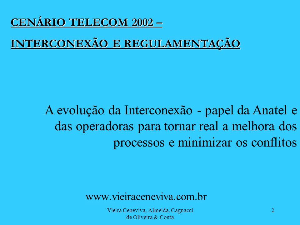 Vieira Ceneviva, Almeida, Cagnacci de Oliveira & Costa 2 CENÁRIO TELECOM 2002 – INTERCONEXÃO E REGULAMENTAÇÃO www.vieiraceneviva.com.br A evolução da