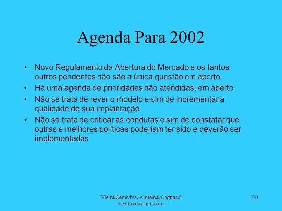 Vieira Ceneviva, Almeida, Cagnacci de Oliveira & Costa 30 Agenda Para 2002 Novo Regulamento da Abertura do Mercado e os tantos outros pendentes não sã