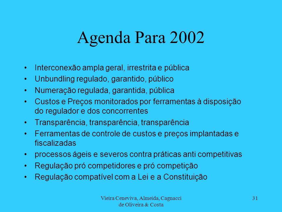 Vieira Ceneviva, Almeida, Cagnacci de Oliveira & Costa 31 Agenda Para 2002 Interconexão ampla geral, irrestrita e pública Unbundling regulado, garanti