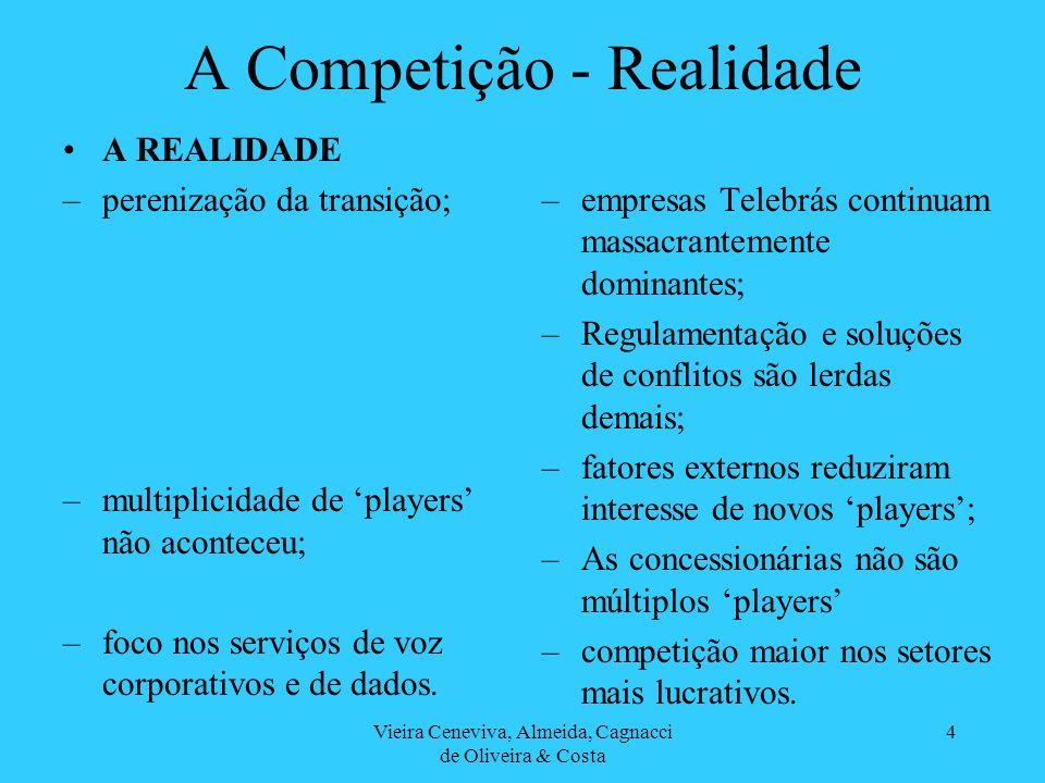 Vieira Ceneviva, Almeida, Cagnacci de Oliveira & Costa 4 A Competição - Realidade A REALIDADE –perenização da transição; –multiplicidade de players nã