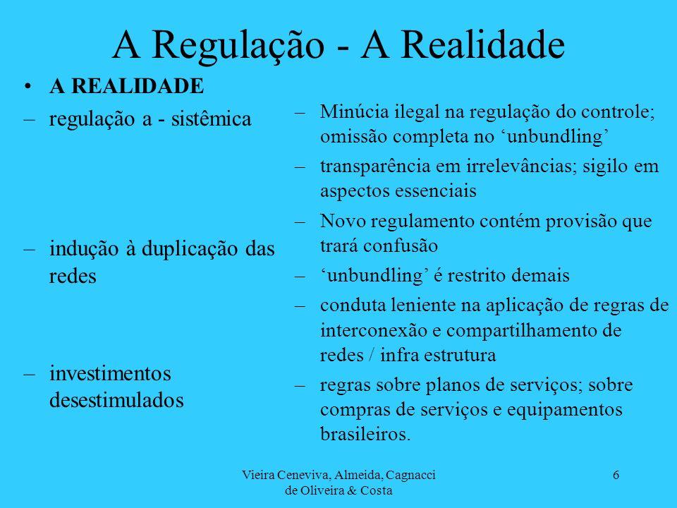 Vieira Ceneviva, Almeida, Cagnacci de Oliveira & Costa 6 A Regulação - A Realidade A REALIDADE –regulação a - sistêmica –indução à duplicação das redes –investimentos desestimulados –Minúcia ilegal na regulação do controle; omissão completa no unbundling –transparência em irrelevâncias; sigilo em aspectos essenciais –Novo regulamento contém provisão que trará confusão –unbundling é restrito demais –conduta leniente na aplicação de regras de interconexão e compartilhamento de redes / infra estrutura –regras sobre planos de serviços; sobre compras de serviços e equipamentos brasileiros.