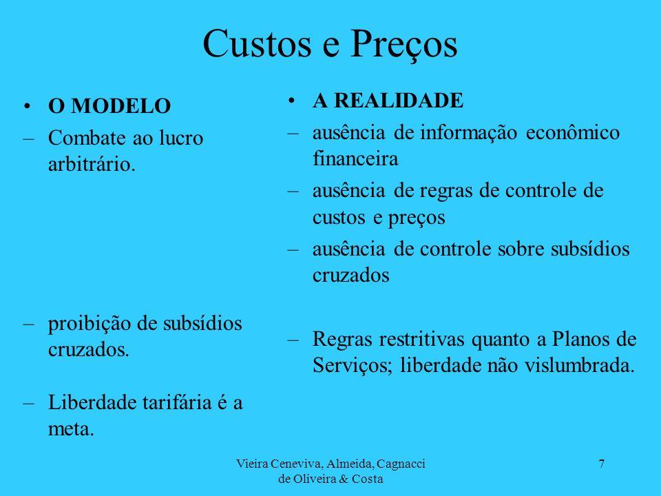 Vieira Ceneviva, Almeida, Cagnacci de Oliveira & Costa 7 Custos e Preços O MODELO –Combate ao lucro arbitrário. –proibição de subsídios cruzados. –Lib