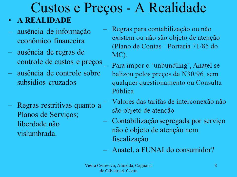 Vieira Ceneviva, Almeida, Cagnacci de Oliveira & Costa 8 Custos e Preços - A Realidade A REALIDADE –ausência de informação econômico financeira –ausên