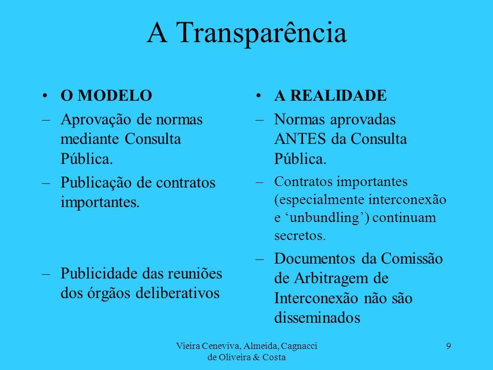 Vieira Ceneviva, Almeida, Cagnacci de Oliveira & Costa 9 A Transparência O MODELO –Aprovação de normas mediante Consulta Pública. –Publicação de contr