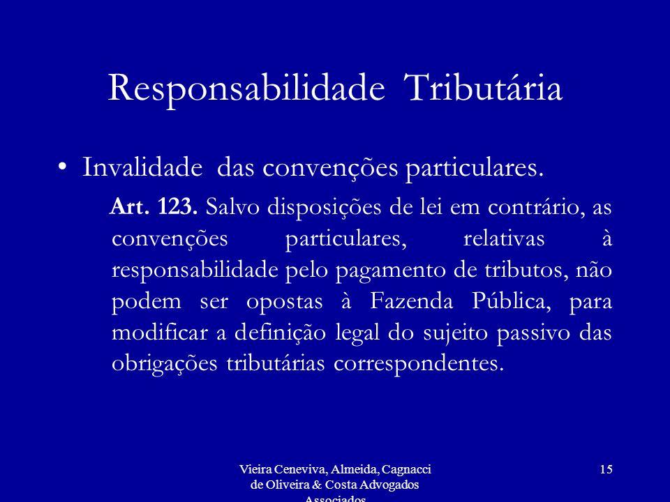 Vieira Ceneviva, Almeida, Cagnacci de Oliveira & Costa Advogados Associados 15 Responsabilidade Tributária Invalidade das convenções particulares.
