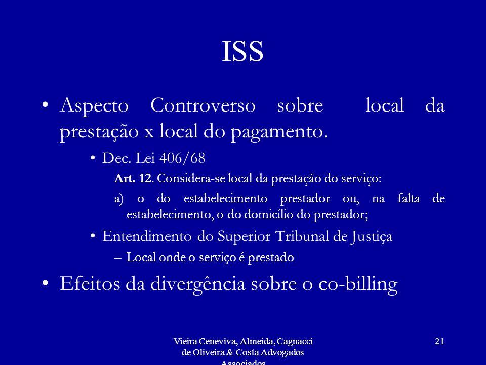 Vieira Ceneviva, Almeida, Cagnacci de Oliveira & Costa Advogados Associados 21 ISS Aspecto Controverso sobre local da prestação x local do pagamento.