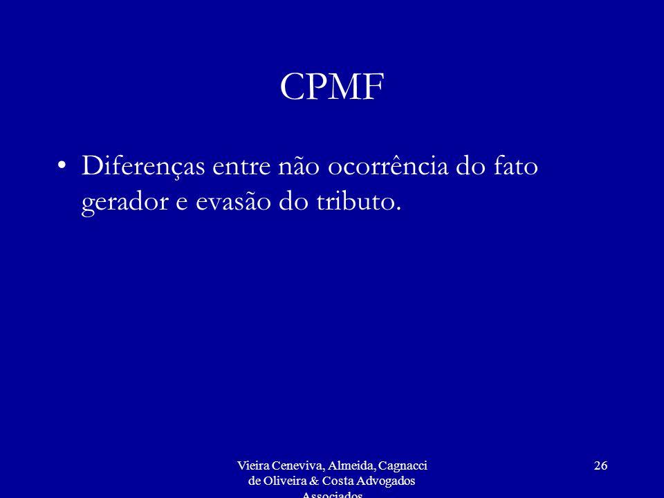Vieira Ceneviva, Almeida, Cagnacci de Oliveira & Costa Advogados Associados 26 CPMF Diferenças entre não ocorrência do fato gerador e evasão do tributo.