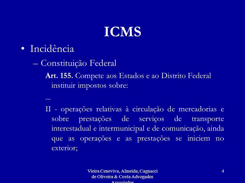 Vieira Ceneviva, Almeida, Cagnacci de Oliveira & Costa Advogados Associados 4 ICMS Incidência –Constituição Federal Art.