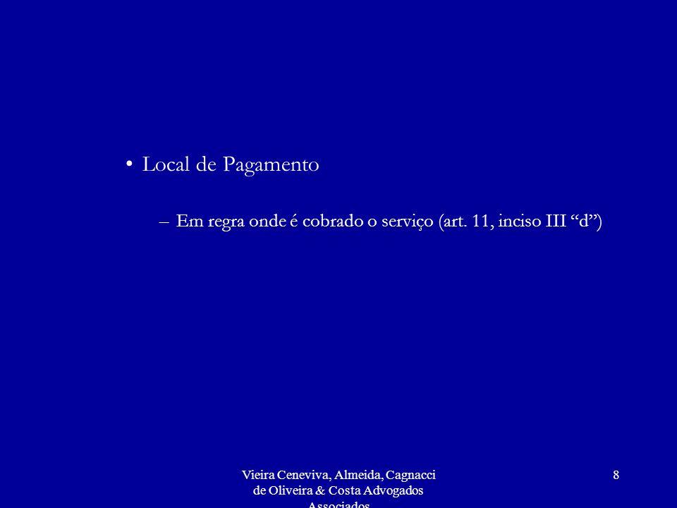 Vieira Ceneviva, Almeida, Cagnacci de Oliveira & Costa Advogados Associados 8 Local de Pagamento –Em regra onde é cobrado o serviço (art.