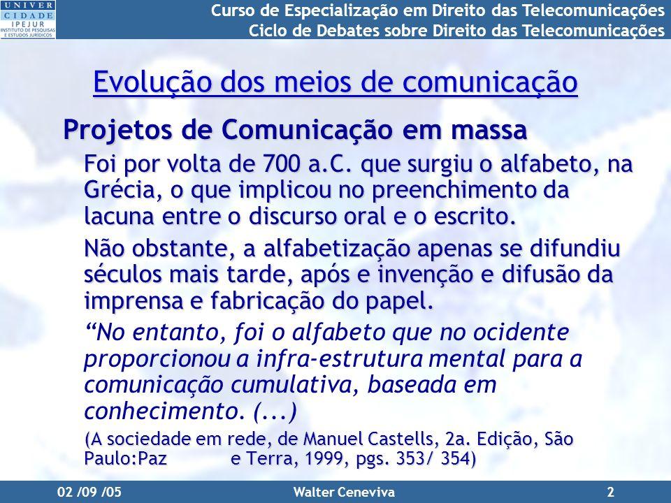 Curso de Especialização em Direito das Telecomunicações Ciclo de Debates sobre Direito das Telecomunicações 02 /09 /05Walter Ceneviva2 Evolução dos meios de comunicação Projetos de Comunicação em massa Foi por volta de 700 a.C.