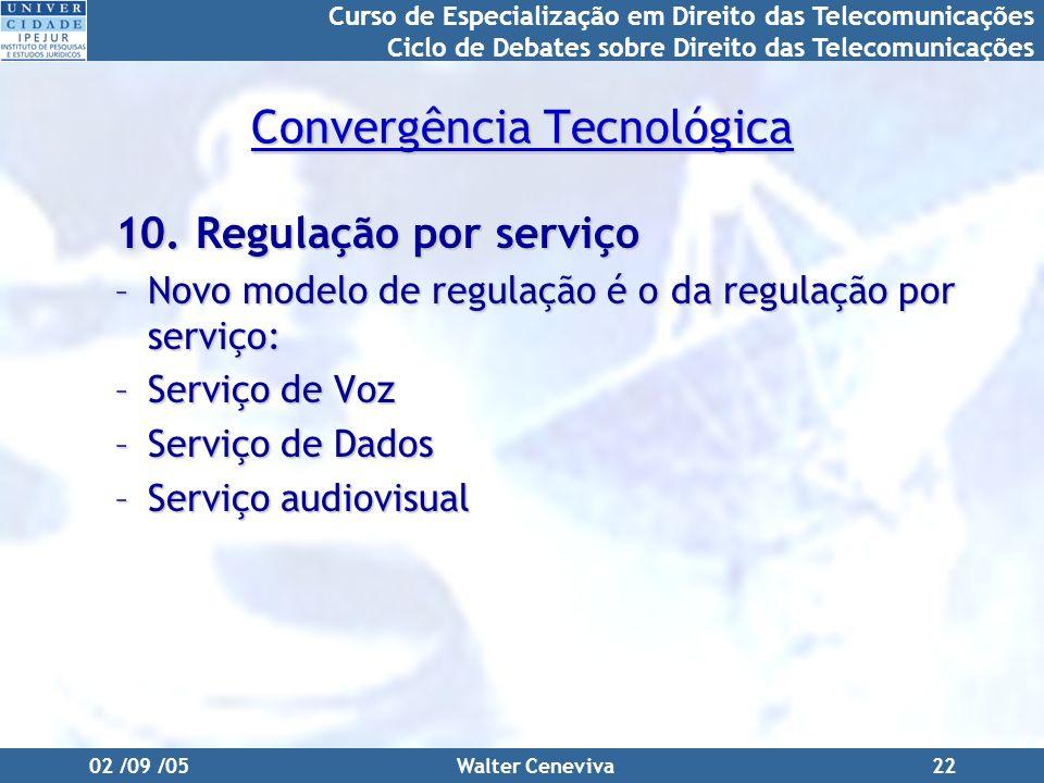 Curso de Especialização em Direito das Telecomunicações Ciclo de Debates sobre Direito das Telecomunicações 02 /09 /05Walter Ceneviva22 Convergência Tecnológica 10.