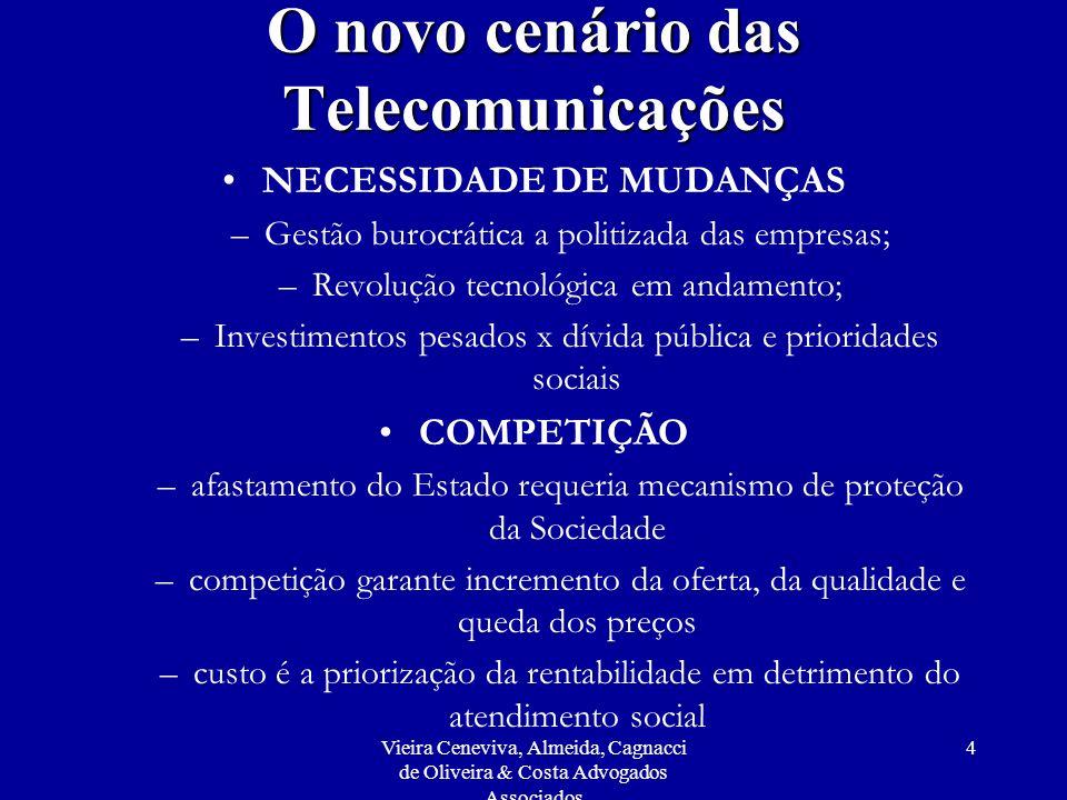 Vieira Ceneviva, Almeida, Cagnacci de Oliveira & Costa Advogados Associados 95 Atuação da Anatel De acordo com o Relatório da Ouvidoria de agosto de 1999 a março de 2000: O corpo gerencial da Anatel, apresentava-se, em fevereiro de 2000, segundo a formação profissional, da seguinte forma: –Engenheiros, 64%; –Administradores, 6%; –Economistas, 5%; –Profissionais de Informática, 5%; –Advogados, 3,6%; –Matemáticos e Estatísticos, 2,4% cada; e –demais profissões, 1,2% cada.