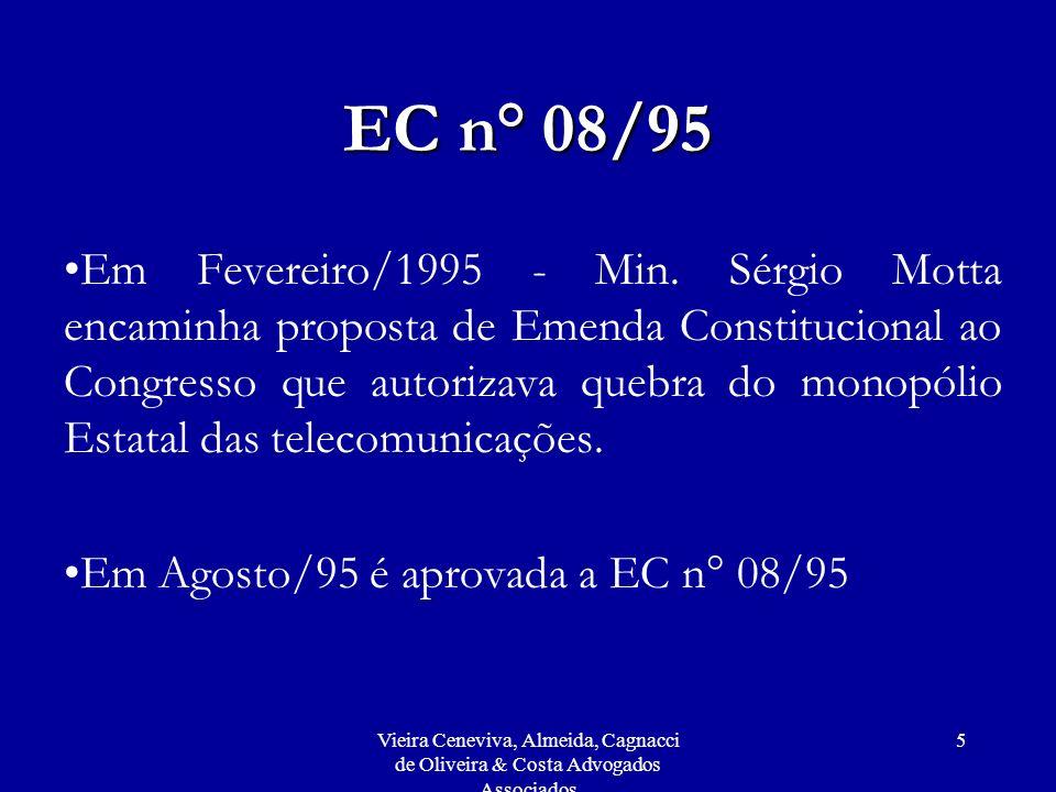 Vieira Ceneviva, Almeida, Cagnacci de Oliveira & Costa Advogados Associados 96 Atuação da Anatel De acordo com o Relatório da Ouvidoria de agosto de 1999 a março de 2000: Quando analisado o quadro geral de servidores de nível superior da Agência, a situação mostra- se da seguinte forma: – engenheiros, 52,1%; –advogados, 13,6%; –administradores, 8,1%; –economistas, 5,8%; e –outros, 20,4%.