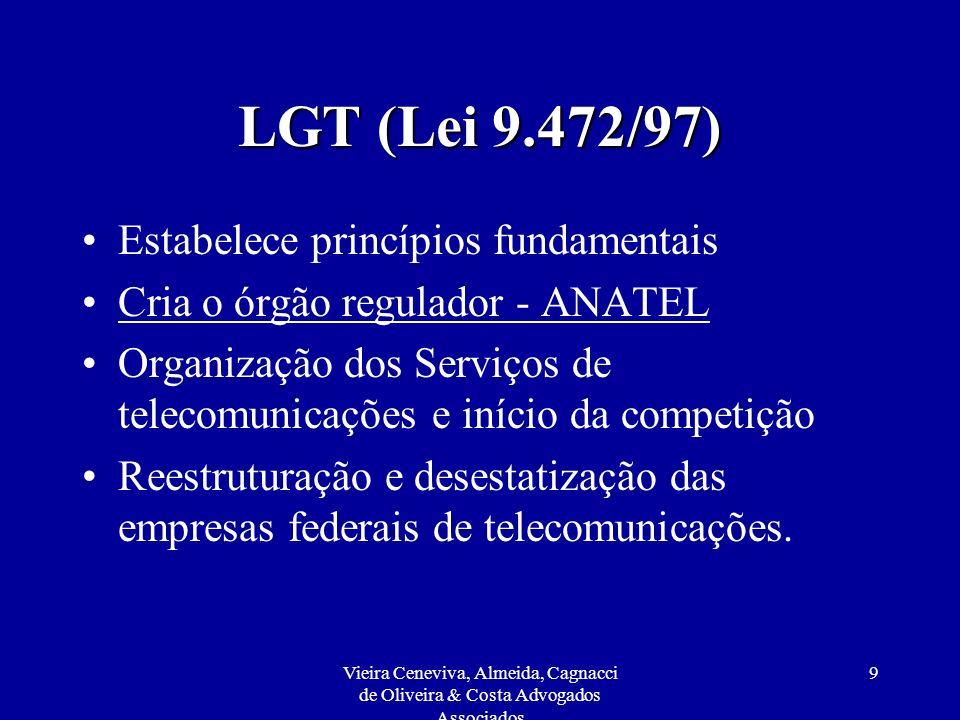 Vieira Ceneviva, Almeida, Cagnacci de Oliveira & Costa Advogados Associados 40 Regulamento da Agência Nacional de Telecomunicações Além do estabelecido no Art.