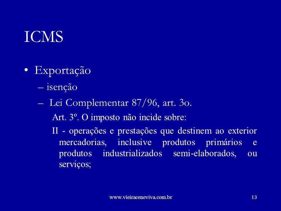 www.vieiraceneviva.com.br12 ICMS Operações internas (Importação) –incidência