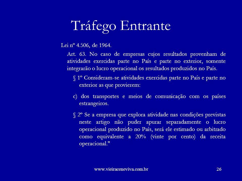www.vieiraceneviva.com.br25 Tráfego Entrante