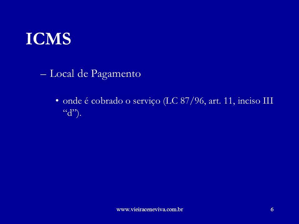 www.vieiraceneviva.com.br5 ICMS Lei Complementar 87 de 13 de Setembro de 1996 –Fato Gerador - Art.