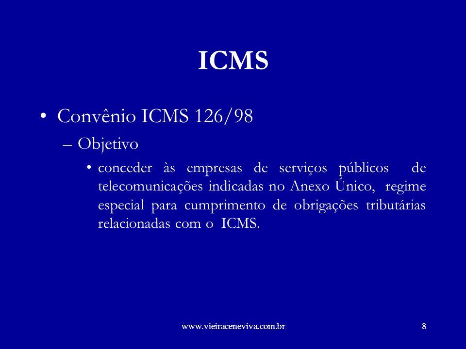 www.vieiraceneviva.com.br7 ICMS Local do Pagamento –operações envolvendo mais de um Estado –serviços não medidos