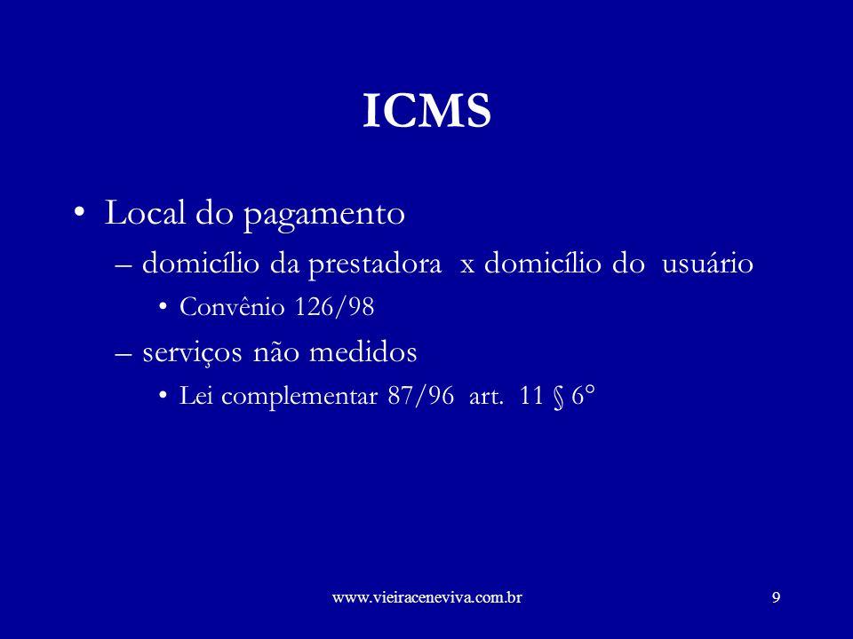 www.vieiraceneviva.com.br8 ICMS Convênio ICMS 126/98 –Objetivo conceder às empresas de serviços públicos de telecomunicações indicadas no Anexo Único, regime especial para cumprimento de obrigações tributárias relacionadas com o ICMS.