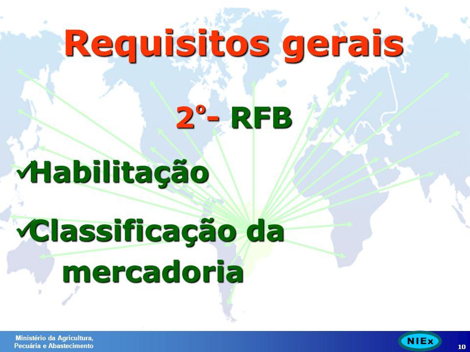 Ministério da Agricultura, Pecuária e Abastecimento 10 2 º - RFB Habilitação Habilitação Classificação da mercadoria Classificação da mercadoria Requisitos gerais