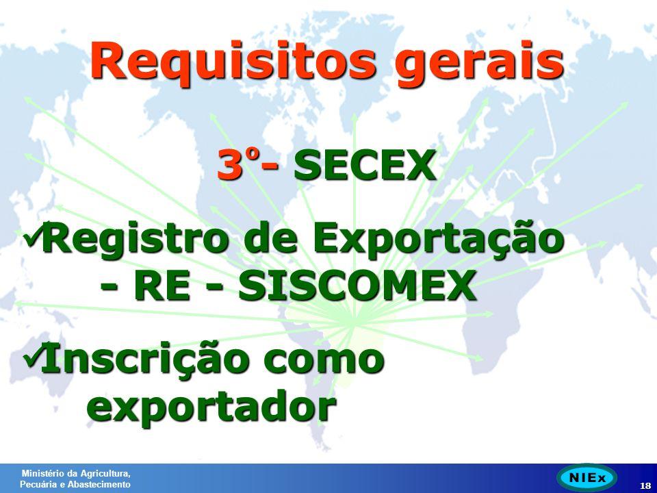 Ministério da Agricultura, Pecuária e Abastecimento 18 3 º - SECEX Registro de Exportação - RE - SISCOMEX Registro de Exportação - RE - SISCOMEX Inscrição como exportador Inscrição como exportador Requisitos gerais