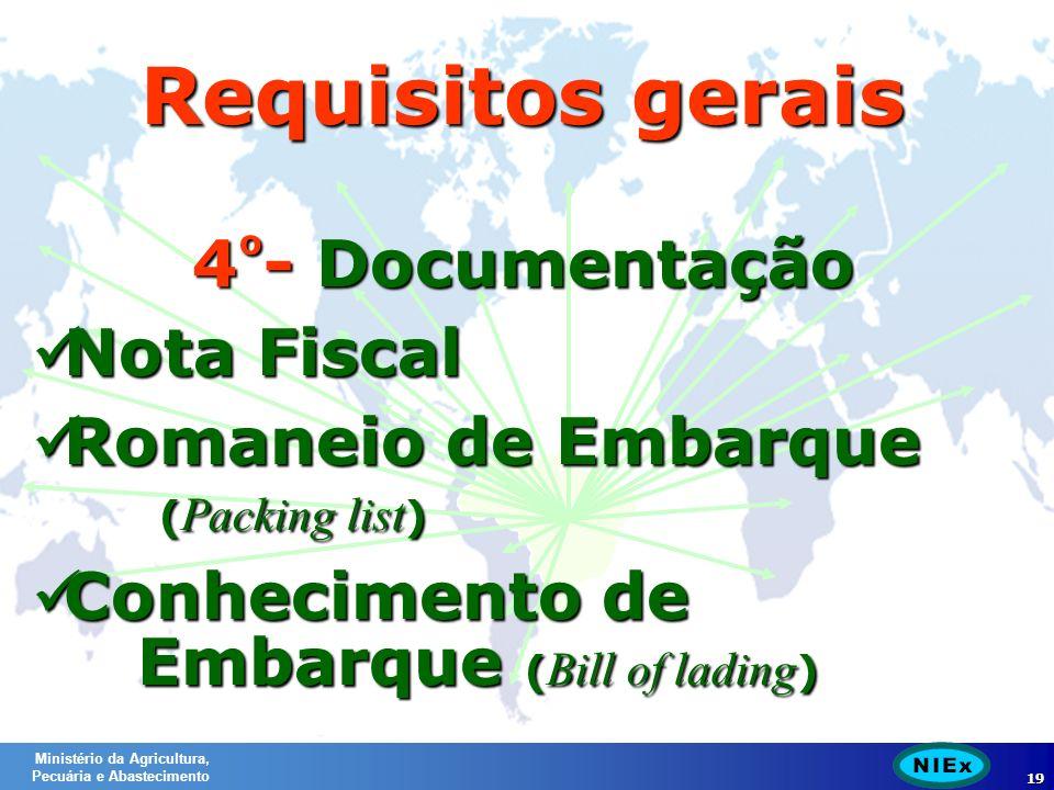 Ministério da Agricultura, Pecuária e Abastecimento 19 4 º - Documentação Nota Fiscal Nota Fiscal Romaneio de Embarque ( Packing list ) Romaneio de Embarque ( Packing list ) Conhecimento de Embarque ( Bill of lading ) Conhecimento de Embarque ( Bill of lading ) Requisitos gerais