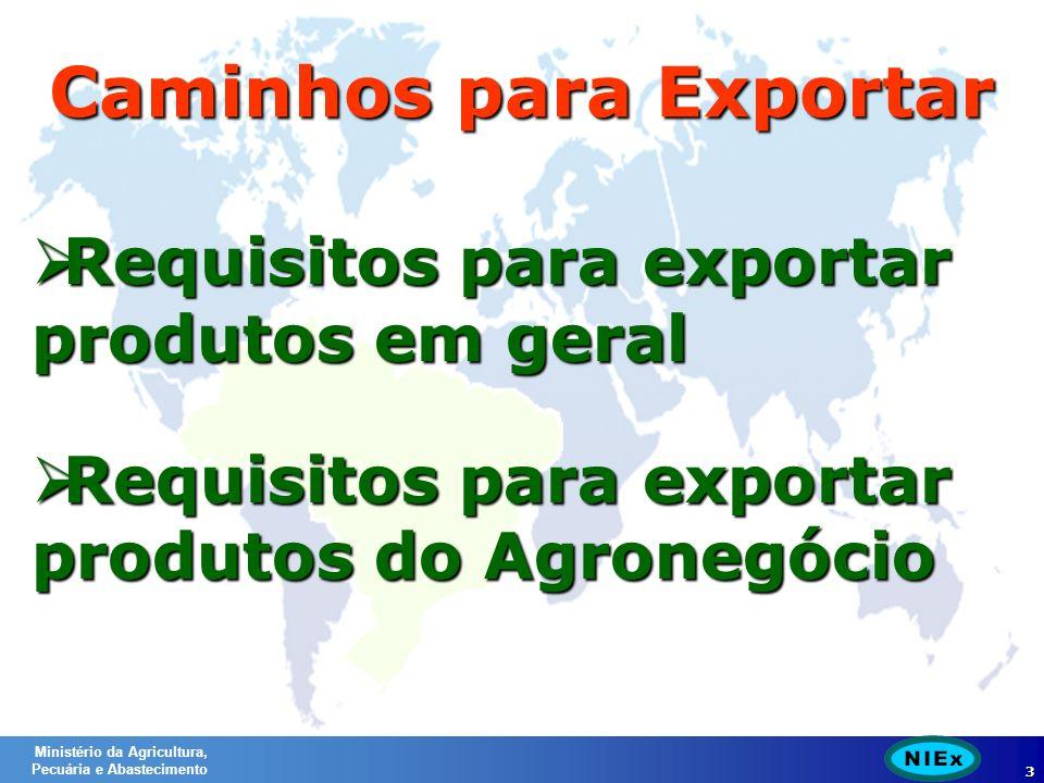 Ministério da Agricultura, Pecuária e Abastecimento 3 Caminhos para Exportar Requisitos para exportar produtos em geral Requisitos para exportar produtos em geral Requisitos para exportar produtos do Agronegócio Requisitos para exportar produtos do Agronegócio