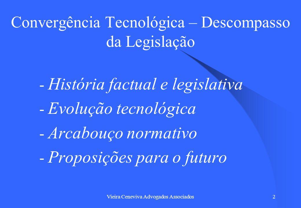 Vieira Ceneviva Advogados Associados2 Convergência Tecnológica – Descompasso da Legislação - História factual e legislativa - Evolução tecnológica - A