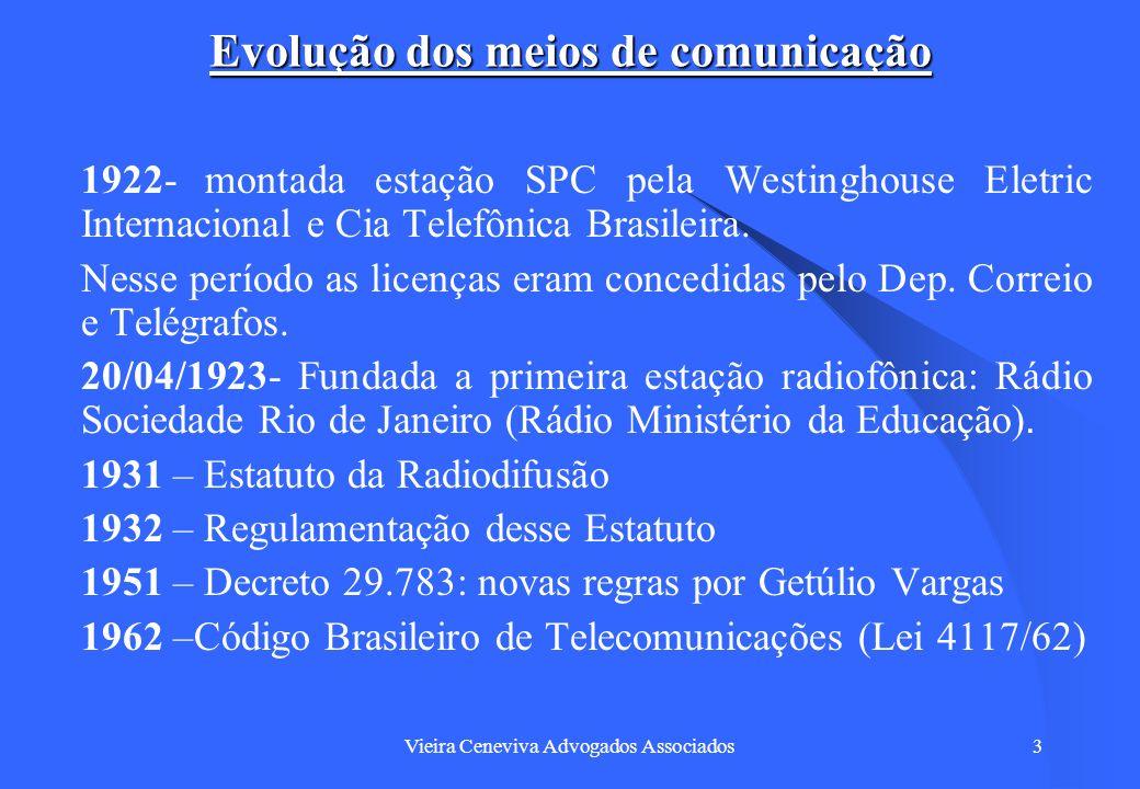 Vieira Ceneviva Advogados Associados4 Evolução dos meios de comunicação Lei 4117/62: Com esse Código foram criados: o Fundo Nacional de Telecomunicações (FNT); o Conselho Nacional de Telecomunicações (CONTEL) e a EMBRATEL.