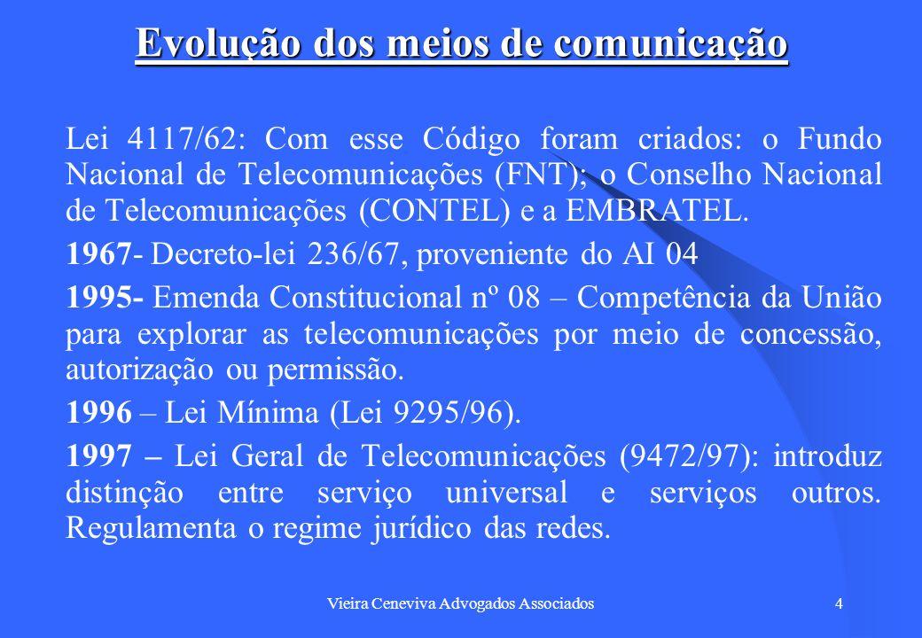 Vieira Ceneviva Advogados Associados4 Evolução dos meios de comunicação Lei 4117/62: Com esse Código foram criados: o Fundo Nacional de Telecomunicaçõ