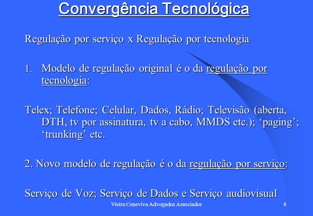 Vieira Ceneviva Advogados Associados8 Convergência Tecnológica Regulação por serviço x Regulação por tecnologia 1. Modelo de regulação original é o da