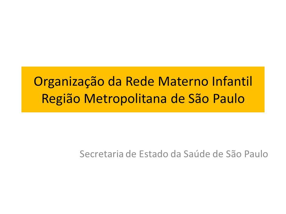 Organização da Rede Materno Infantil Região Metropolitana de São Paulo Secretaria de Estado da Saúde de São Paulo