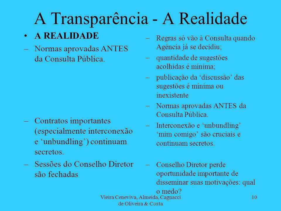 Vieira Ceneviva, Almeida, Cagnacci de Oliveira & Costa 10 A Transparência - A Realidade A REALIDADE –Normas aprovadas ANTES da Consulta Pública.
