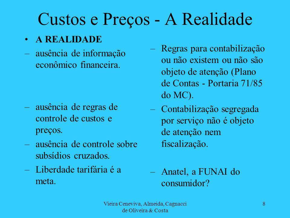 Vieira Ceneviva, Almeida, Cagnacci de Oliveira & Costa 8 Custos e Preços - A Realidade A REALIDADE –ausência de informação econômico financeira.