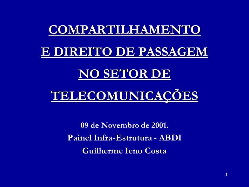 1 COMPARTILHAMENTO E DIREITO DE PASSAGEM NO SETOR DE TELECOMUNICAÇÕES 09 de Novembro de 2001. Painel Infra-Estrutura - ABDI Guilherme Ieno Costa