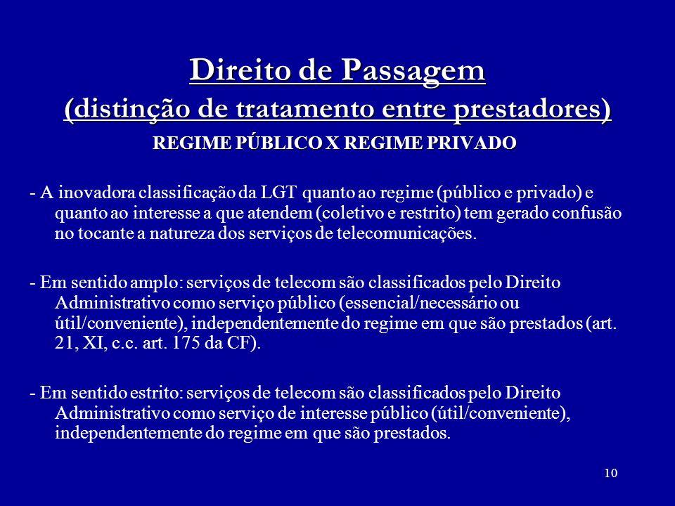 10 Direito de Passagem (distinção de tratamento entre prestadores) REGIME PÚBLICO X REGIME PRIVADO - A inovadora classificação da LGT quanto ao regime